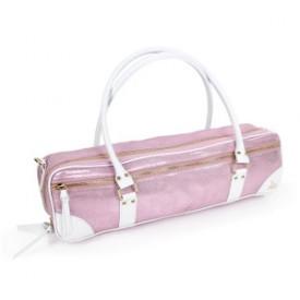 FluterScooter - Pink Sparkles leather flute bag